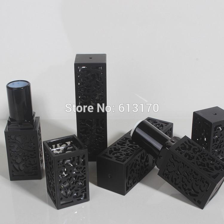Leeres Lippenstift Rohr, schwarze hohle Art Lippenbalsam Flasche, quadratisches Make upwerkzeug, hochwertiger Frauen kosmetischer DIY Behälter, 50pcs