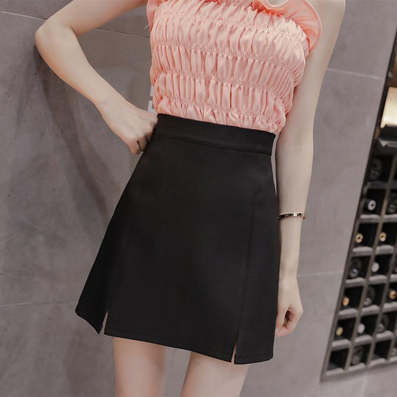 revendeur 7ceb1 cc77a 2018 Vêtements femme filles Bureau Lady mini A-Line Jupe courte femme  nouvelle taille haute jupe noire printemps été hanche fendue