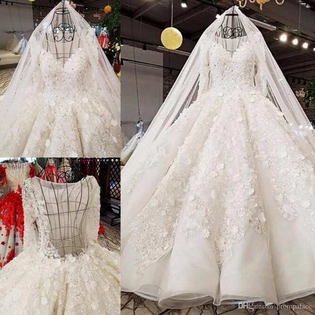0c15af5a6c820 Latest Vintage Lace Ball Gown Wedding Dresses Illusion Neckline Long Sleeves  Sweep Train Wedding Gowns Designers Wedding Dress Ball Gown Wedding Dress  China ...