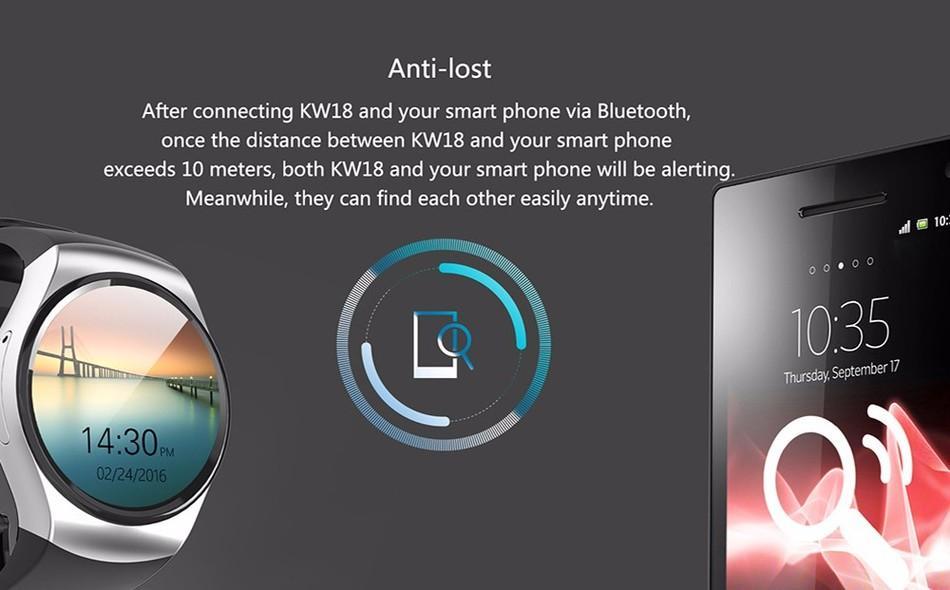 KW18 Bluetooth Smart Watch Telefon Vollbild IPS Unterstützung SIM TF Karte Smartwatch Herzfrequenz für IOS Android 1 teil / los