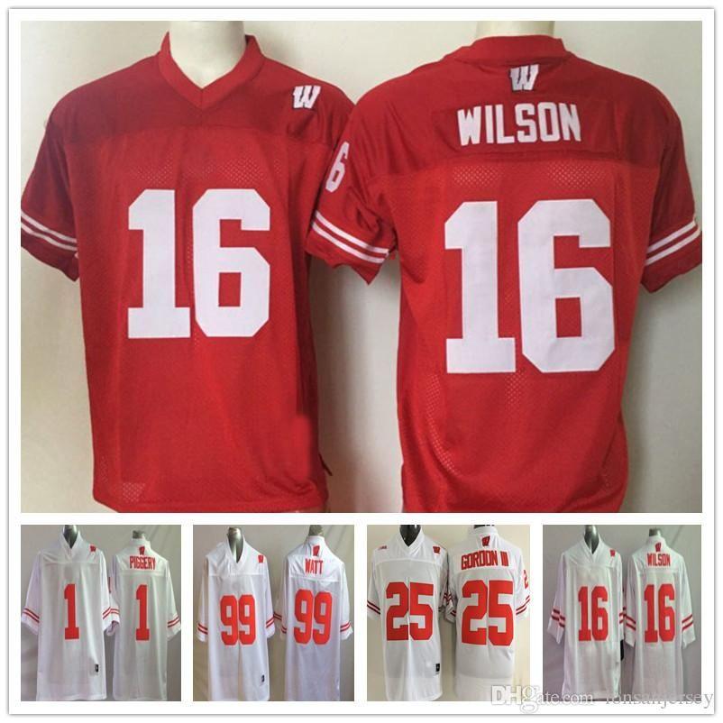 95e799880e48 2019 Russell Wilson J.J. WATT Wisconsin Badgers Jersey Football Ncaa  College Melvin Gordon III PIGGERY Montee BALL White Red From  Fanatical store