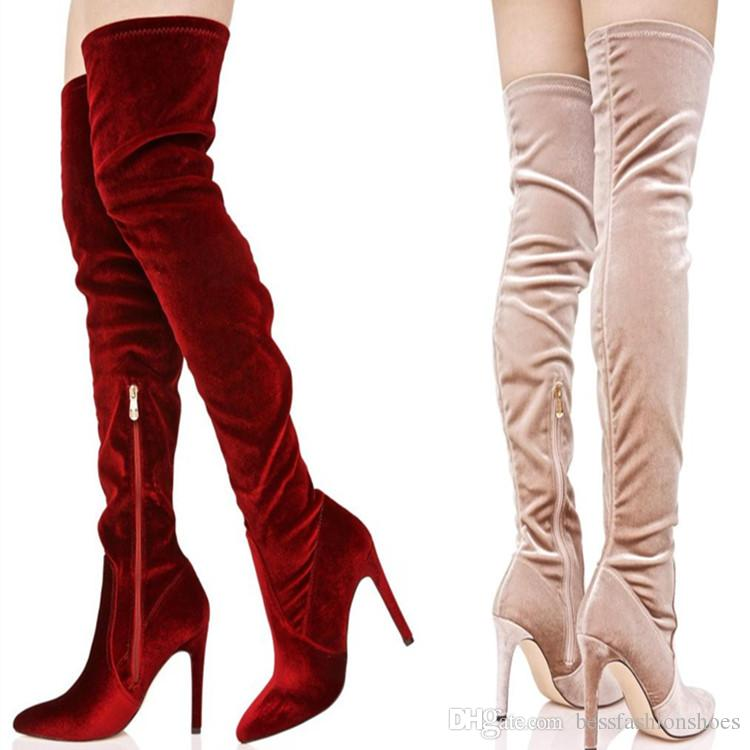 5407c615c2a Nude Wine Red Velvet Women Knee High Boots Winter Thigh High Boots Autumn  Female Motorcycle Boots Shoes Burgundy Elegant Ladies Long Booties