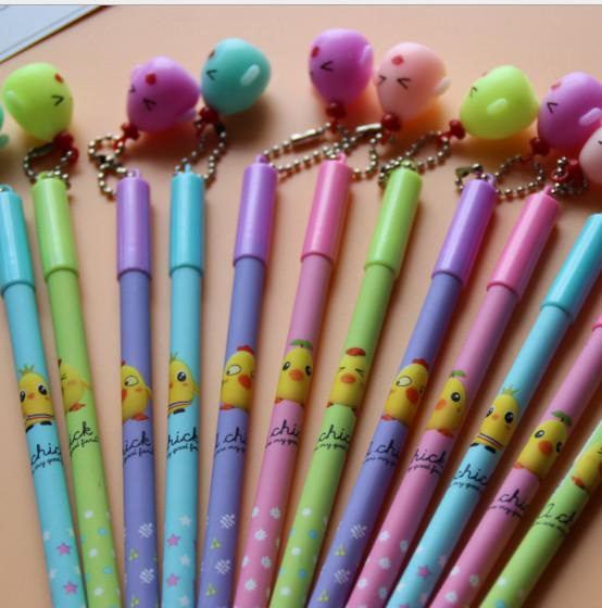 Best selling gel pen wholesale 120pcs\Lot free shipping Lovable Cartoon Erasable pen with small Chick pendant neutral pen158