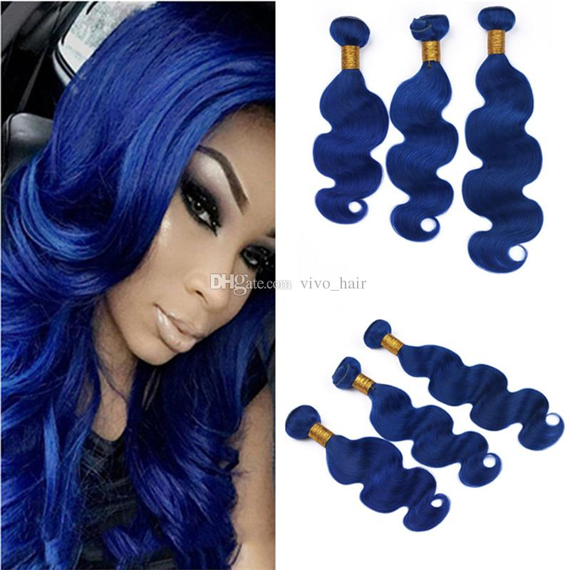 Peruvian Blue Human Hair Weave 3 Bundles Body Wave Wavy Dark Blue