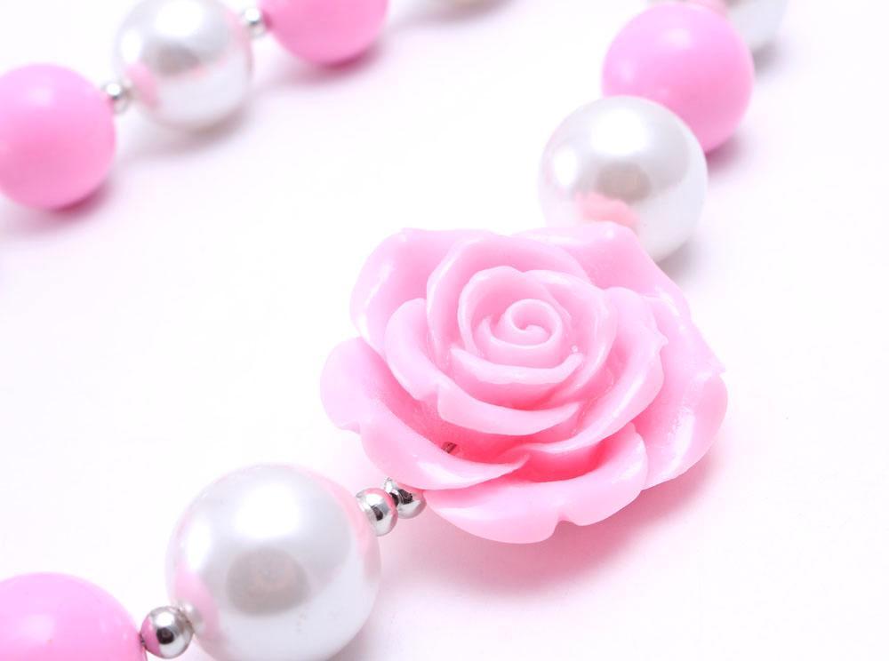 Pembe Renk Çiçek Kid Tıknaz Kolye Yeni Moda Pembe + Beyaz Renk Bubblegum Boncuk Tıknaz Kolye Çocuk Takı Toddler Kızlar Için