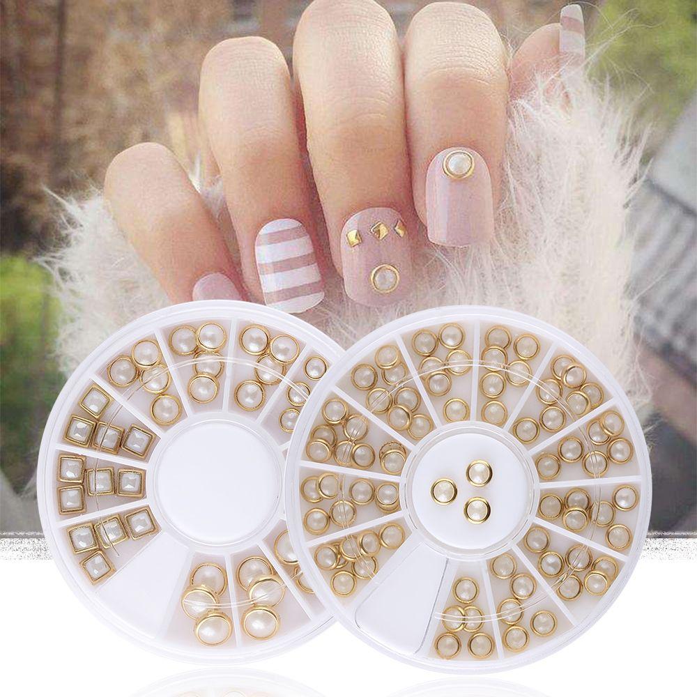 1 Wheel AB Beige Metal Edge Glitter Nail Beads Studs Beauty Charm Nail Art  DIY Pearls Manicure Decoration Art Accessories Cheap Wedding Supplies Fake  Nails ... 4daa8d466925