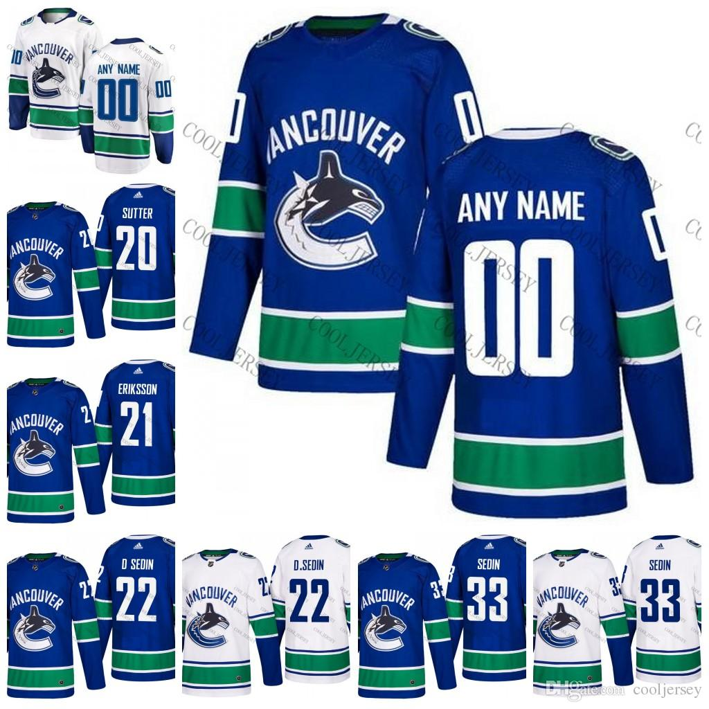 eeea5fd923f 2019 Custom 2018 Vancouver Canucks Hockey Jerseys Personalized Any Number  Name Customized Stitched Blue Home White Sedin Linden Vanek Bure S 60 From  ...