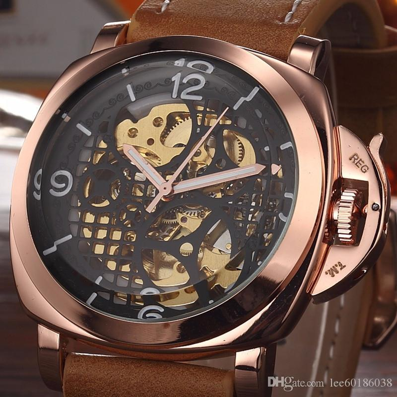 971529808 Aaa Luxury Business Mechanical Watch Men Automatic Classic Rose Gold  Leather Mechanical Wrist Watches Luminous Male Clock Reloj Hombre 2018 Watches  Shop ...