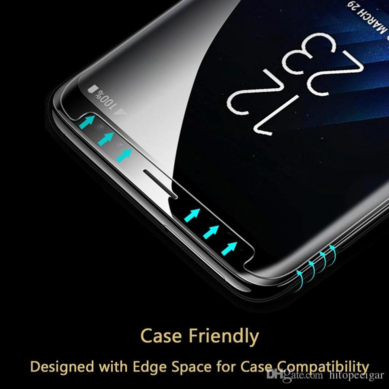 Full Adhesive Glue Tempered Glass Case Friendly 3D Curved Screen Protector for Samsung S7 S7 edge S9plus S9 Note 8 S8 Plus S8