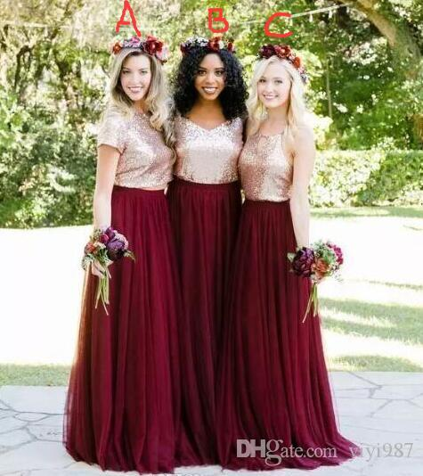 944002d8 Two Pieces Of The Bridesmaid Dresses 2018 Rose Gold Sequined Top Of  Burgundy Country Bridesmaid Dresses A Line Tulle Maid Of Honor Wedding  Bridesmaid Dress ...