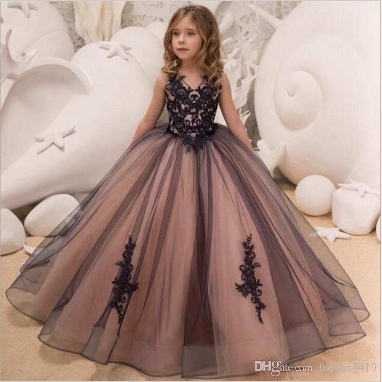 2b312158c7f 2019 New Cheap Flower Girl Dresses For Weddings V Neck Black Lace Appliques  Ball Gown Litter Girls Pageant Dress Prom Kids Communion Gowns Beach  Wedding ...