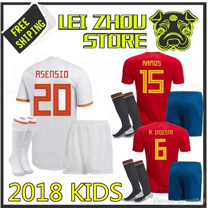 3A+ KIDS Spain Soccer Jerseys 2018 World Cup Football Kits Kids Uniform  with Socks Camisetas De Futbol MORATA ASENSIO ISCO SILVA RAMOS EPack Spain  Jersey ... b5572e6d06927
