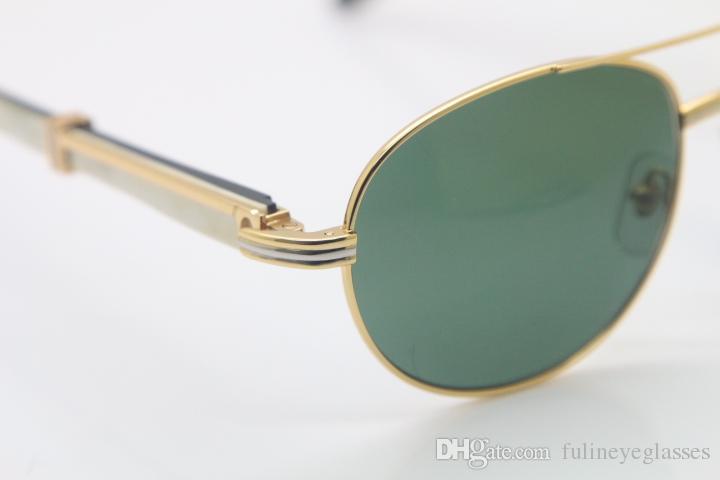 18k Gold Black White Buffalo Horn Glasses CT569 Round Metal Sunglasses wholesale Sunglasses C Decoration gold Size:57-22-135mm