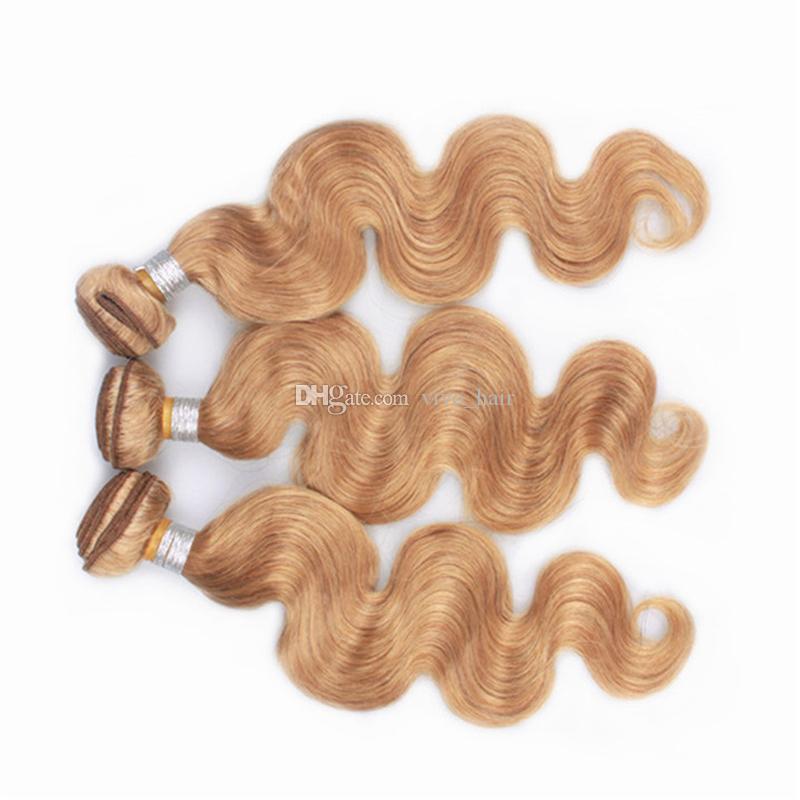 Pure Color 27 Honigblondes Peruanisches Haar Bundles mit Spitze Frontal Schließung Körperwelle Erdbeerblondes Menschenhaar spinnt und 13X4 Verschluss