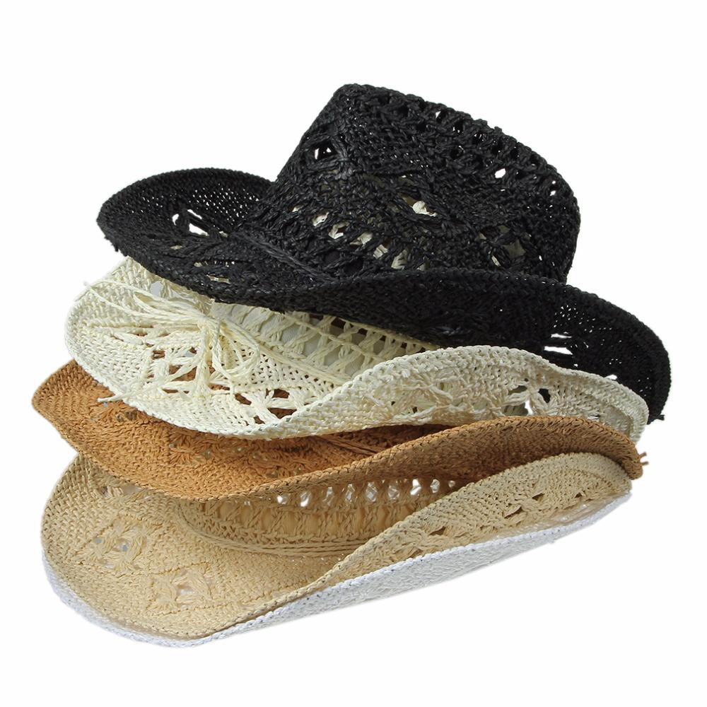Summer Hats for Women Casual Solid Straw Hat Panama Cowboy Caps Men ... d0210aacf53e