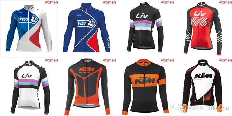 FDJ KTM LIV Team Cycling Long Sleeves Jersey Women Road Bike Racing Clothes  High Quality Ropa Ciclismo Size XS 4XL D0216 V Neck T Shirts For Men Bib  Shorts ... cb778994a