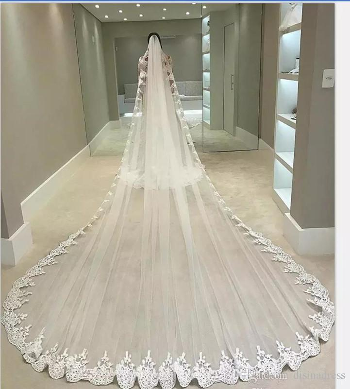 4d69e6b3c3 Cathedral Long Wedding Veils With Lace Applique Edge Bridal Veils One Layer  Tulle Custom Made Bridal Veil With Comb Veils For Weddings Vintage Bridal  Veils ...