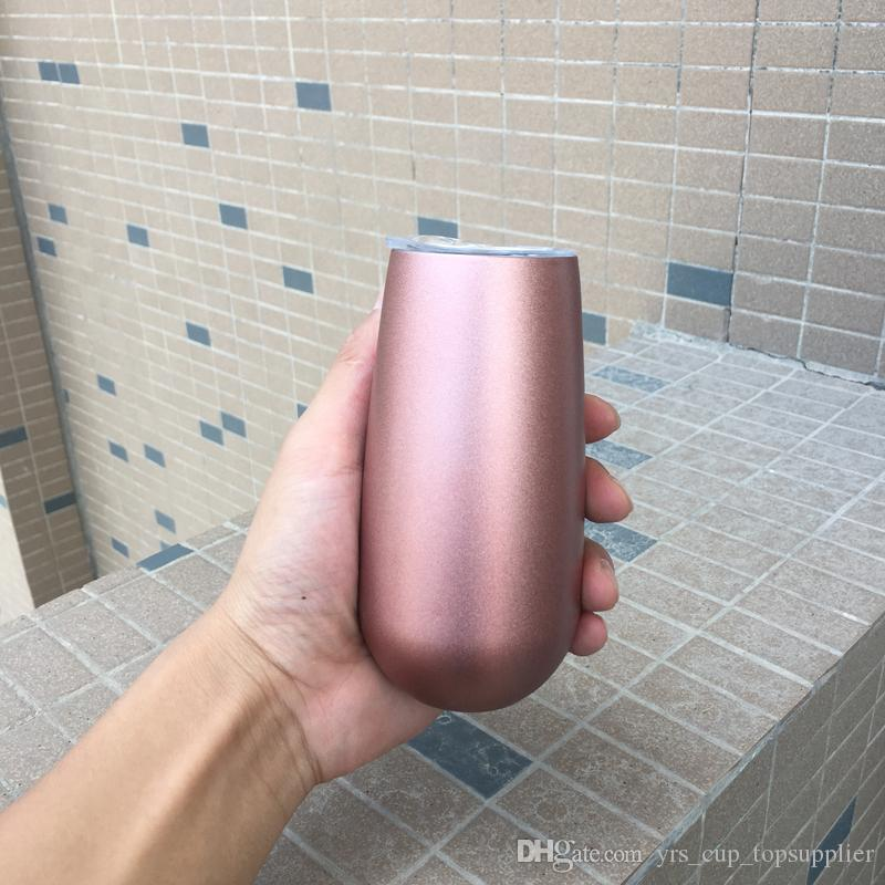Más reciente 6 oz Stemless Flute Doble aislamiento de vino de acero inoxidable vino rosa glod fiesta de bodas bonito regalo taza DHL libre