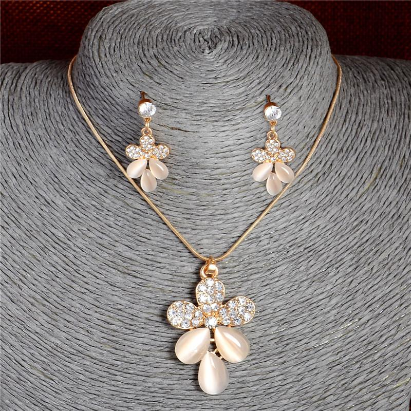 Fashion Crystal Gold Jewerly Sets For Women Cat's Eye Stones Jewelry Set Of african Statement necklace earrings jewellery set