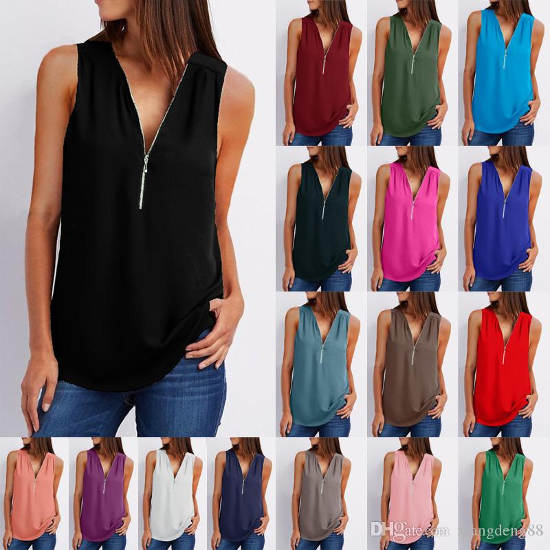 39eaa9463ec5 2019 Summer Women Casual Blouses Sexy V Neck Zipper Shirt Solid Sleeveless  Soft Shirts Women Loose Daily Tops Plus Size New From Xiangdeng88, ...