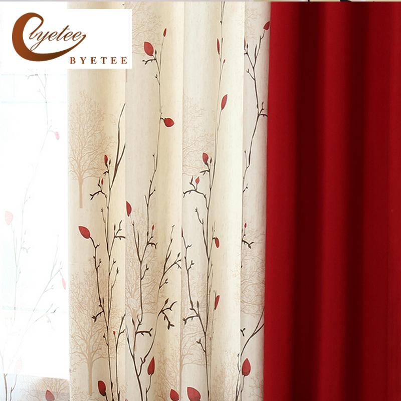 Byetee Faux Cotton Linen Curtain Modern Rustic Red Quality Stitching Living Room Curtains Fabrics Kitchen Door Curtains Drapes