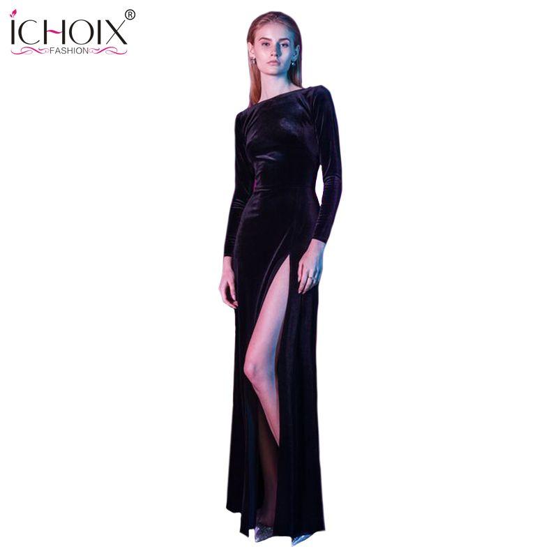 Kleid schwarz lang mit schlitz