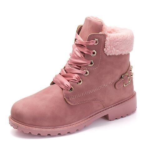 674dc7b15 Compre Botas De Mujer 2019 Moda Caliente Botines De Las Mujeres Punta  Redonda Femenino Cálido Más Terciopelo Invierno Botas De Nieve Zapatos De  Mujer A ...
