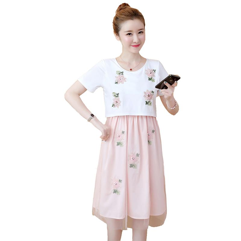 ae0a0898d0 2019 Sweet Beading Applique Maternity Nursing Dress Summer Lovely  Breastfeeding Clothes For Pregnant Women Cute Pregnancy Wear From  Mingway245