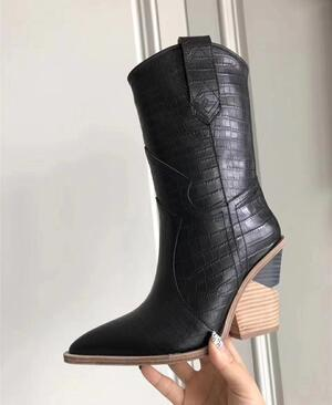 d7e75b4ca54 Blue yellow snake skin Women Boots 2018 Pointed Toe Western Boots Cowboy  runway design Chunky Wedges heel Mid-calf