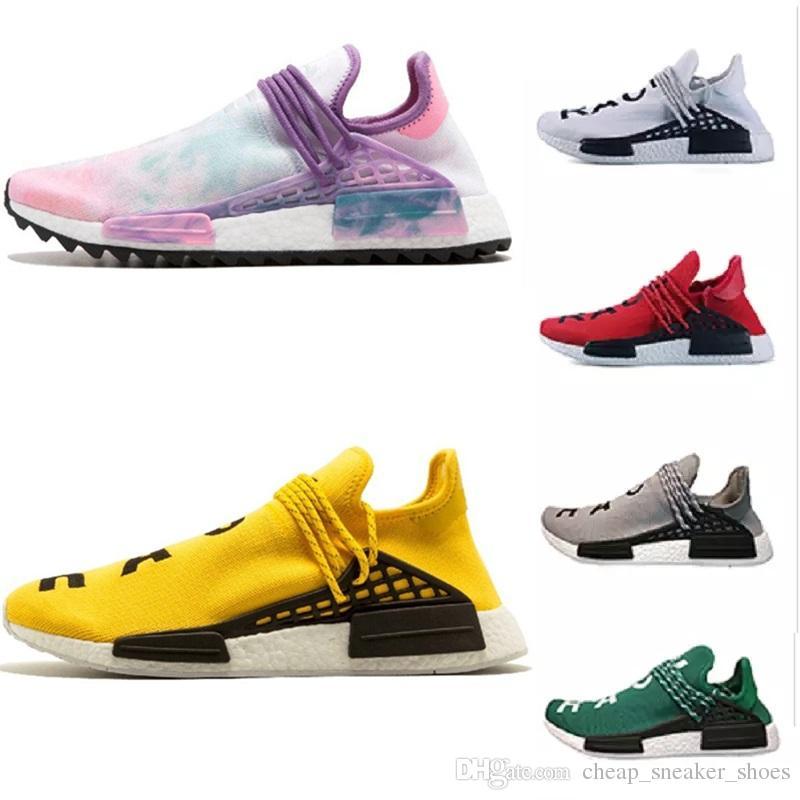 6a9eeb7b9 2018 Homecoming Creme X NERD Solar PacK Human Race Running Shoes Pharrell  Williams Hu Trail Trainers Men Women Runner Sports Sneakers 36-47 HUMAN RACE  ...