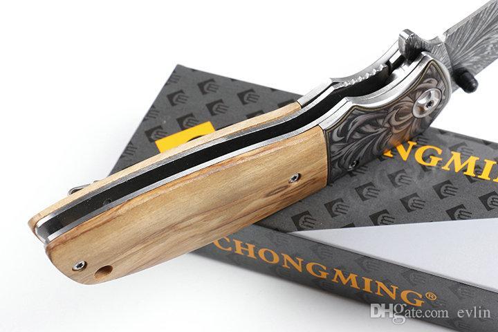 Promosyon 2018 Perakende Kutu Paketi İle Yeni Çin Yapımı CM77 3 boyutlu tasarım Taktik Katlama Bıçak 440C Blade Ahşap Kol EDC Cep Bıçaklar