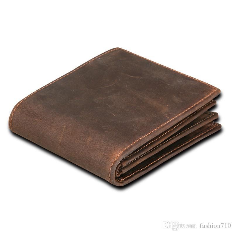 Herrenbekleidung & Zubehör Hohe Qualität Männer Echte Leder Brieftasche Vintage Kurze Männlichen Brieftaschen Zipper Poucht Männlichen Geldbörse Geld Tasche Portomonee Günstige