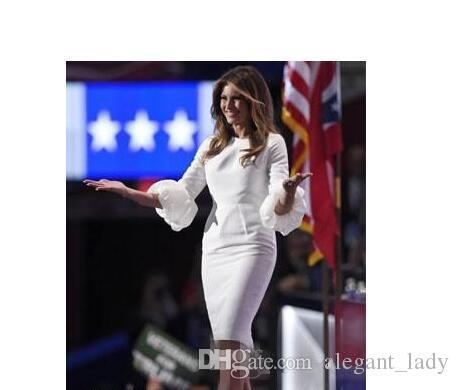 Melania Trump Little White Dresses Celebrity Dresses Baloon Sleeves And Back Split Knee Length Cocktail Dresses 2018 Cheap