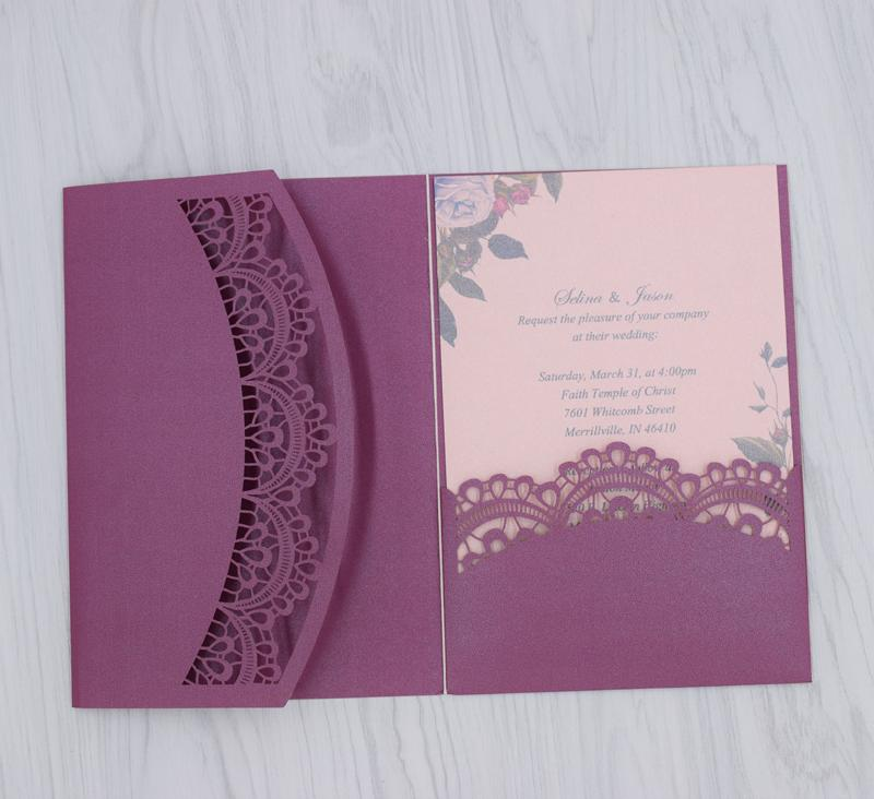 Luxury Wedding Invitations Customized Lace Flora Pesonalized Printable Cards Unique Wedding Favors Invites Cards Wedding Supplies