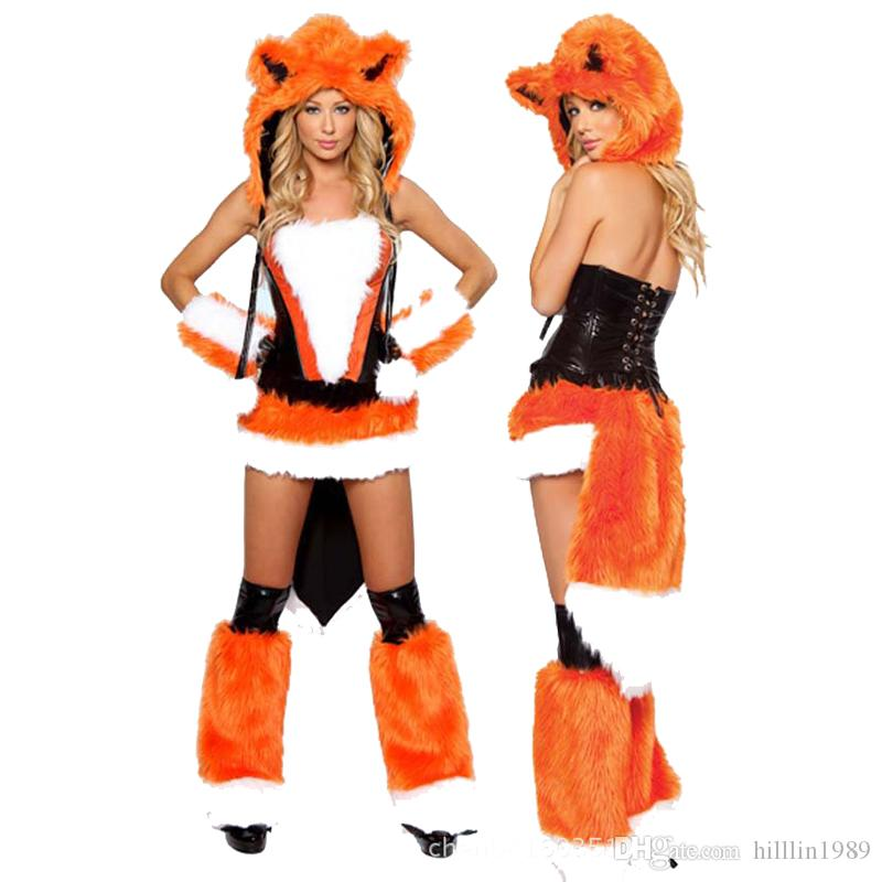 Orange Sexy Carnival Cosplay Winter Fox Costume Faux Fur Animal Uniform Halloween Plush Cat Outfits Christmas Theme Costume