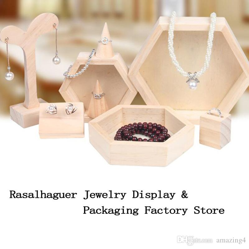 Hot-Selling wholesale 15x17.5x3cm Wooden Necklace Jewelry Display Tray Case Holder Rack Hexagon Storage Box S/M/L Size