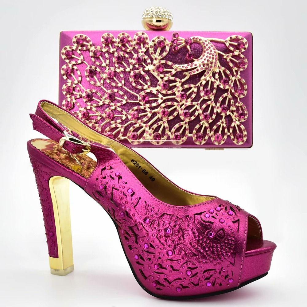 4acb2978baecc Compre Magníficos Zapatos De Hebilla Con Sandalias De Tacón Alto Fucsia Y  Bolso De Noche Con Bonitas Piedras Para La Boda 8281 86 A  115.6 Del  Shoes2244 ...