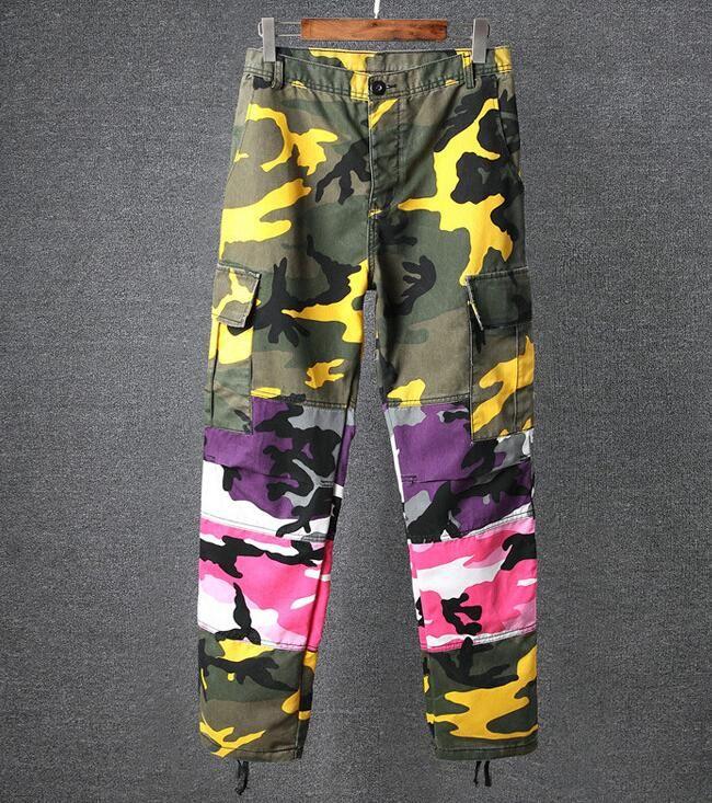 d073a2f59d Tri Color Camo Patchwork Cargo Pants Men's Hip Hop Casual Camouflage  Trousers Fashion Streetwear Joggers Sweatpants