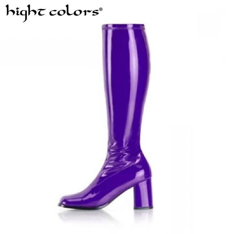 65603a73f84 Fashion Ladies Knee High Boots Candy Colors Soft Patent Leather Riding Thigh  High Boots Purple Chic Slim Motorcycle Mens Dress Boots Green Boots From ...