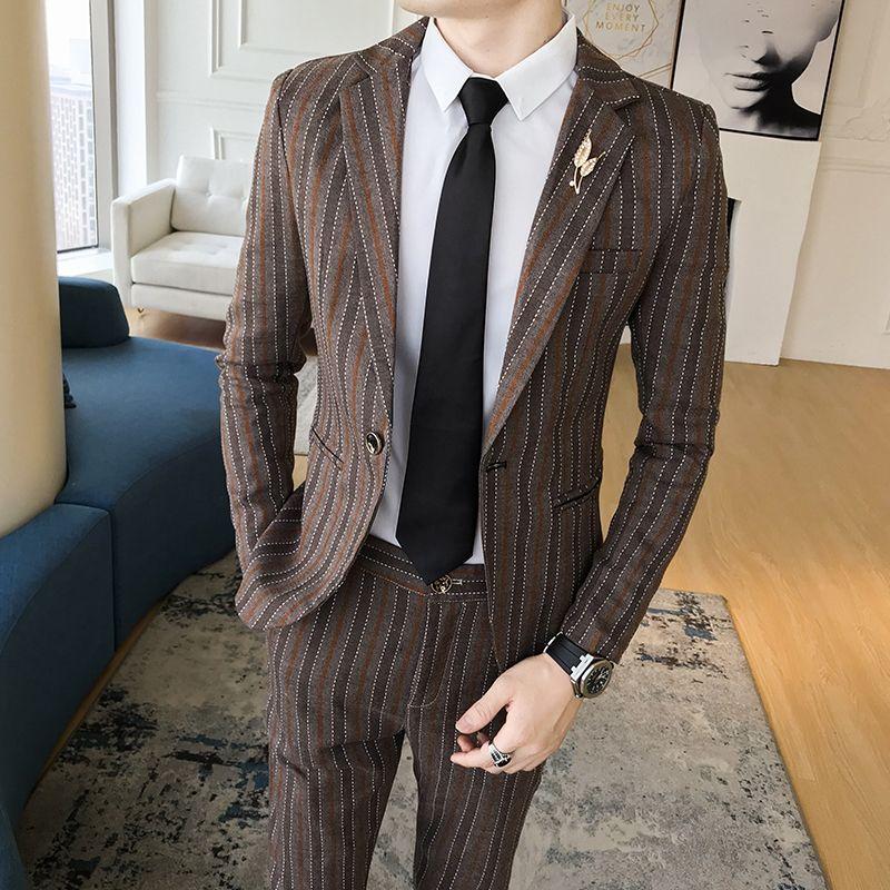 Herrenbekleidung & Zubehör Blau Gedruckt Einreiher Kleid Anzug Für Männer Casual England Stil 2 Stück Anzüge Männer Mantel Hose Blau Herren Anzug