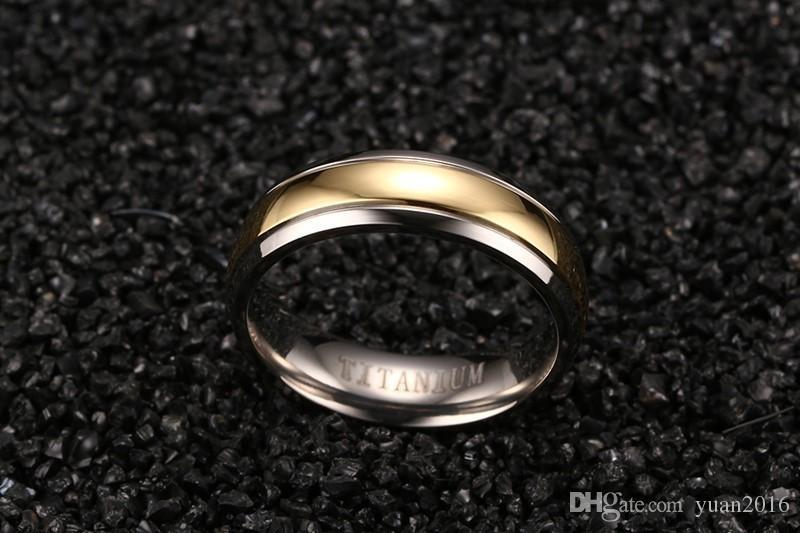 Anel de casamento 6mm simples anéis de titânio com 18 K Gold Strip para Mulheres / Homens conforto fit tamanho 6-12 venda quente nos EUA e na Europa
