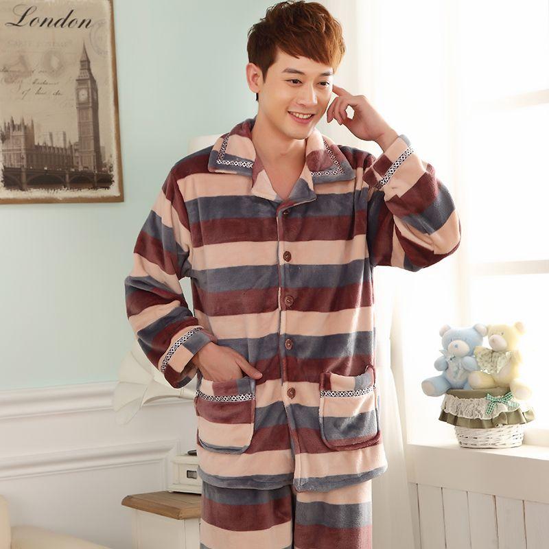83049b32a 2019 Autumn Winter Fleece Men S Pyjamas Korean Loose Striped Print ...