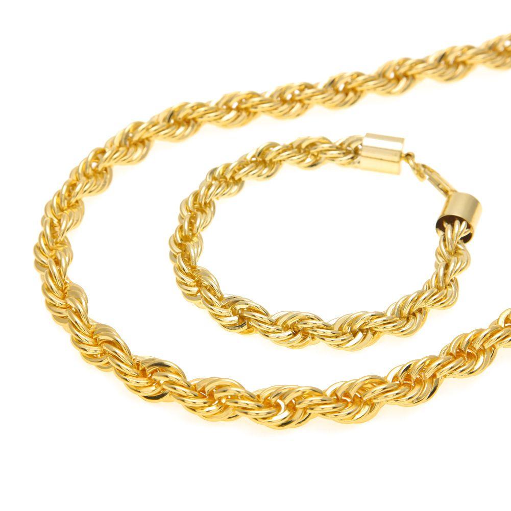 10 MM Hip Hop Twisted Seil Ketten Schmuck set Gold Silber überzogene Dicke Schwere Lange Halskette armband Armreif Für männer Rock Schmuck