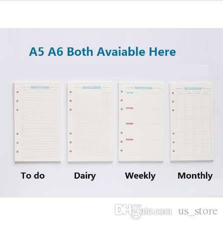 picture relating to Cute Planner Refills called 6 Holes Unfastened Leaf Laptop computer Spiral Planner Refill Interior Paper A5 Internet pages Diary Weekly Regular Program Toward do Listing for Filofax