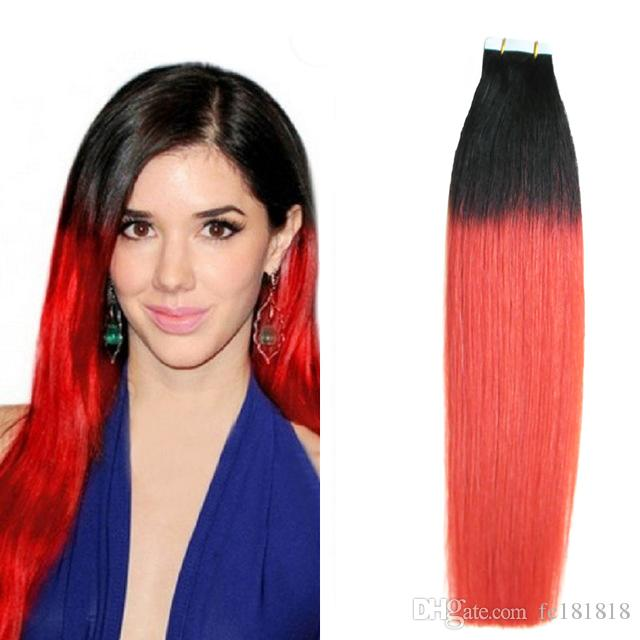 Ombre Tape Hair Extensions Human T1B/Red Tape in Remy India Extensions 100g Skin Weft Tape Hair Extensions Virgin Straight Hair 40pc