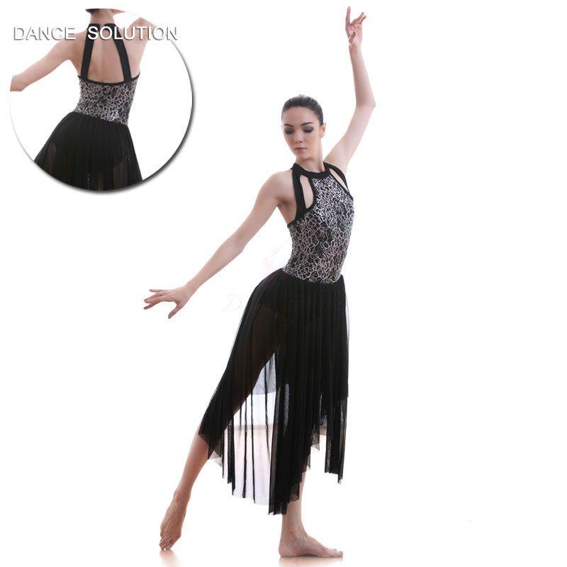2019 Halter Neck Sequin Bodice With Black Mesh Long Dress Ballet