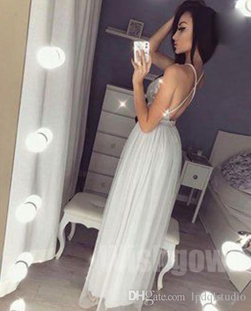Sexy Silver Paillettes Robes de Soirée Long Party Dress Side Split étage longueur robe de bal pas cher