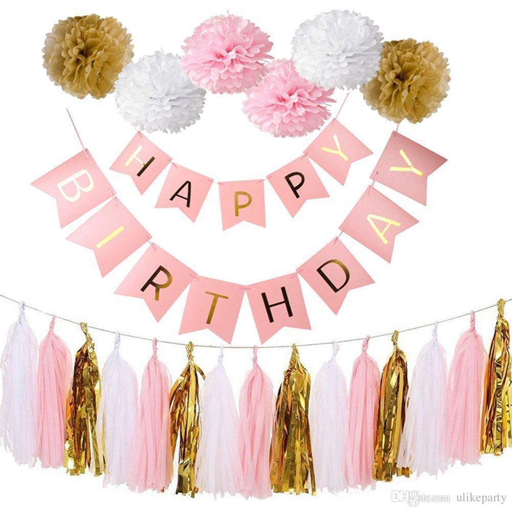 Grosshandel Geburtstag Party Dekoration Erwachsene Kit Happy Birthday Swallowtail Banner 3 Farben Tissue Pom Poms Blume Quasten Fur Mottoparty Von
