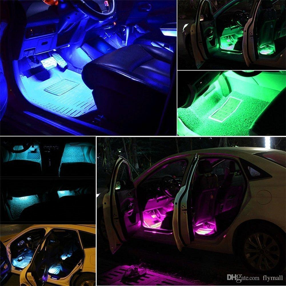 Wireless Remote Car LED Strip Light 48 LED 12V RGB Music Car Interior Light LED Under Dash Lighting with Sound Active Function