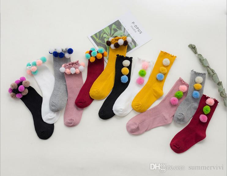 Acquista ragazze calze nuovi bambini caramelle colori pompon
